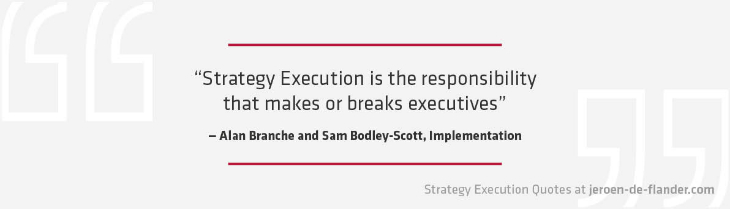 Strategy execution quotes - Strategy Execution is the responsibility that makes or breaks executives - Alan Branche Sam Bodley-Scott, Implementation