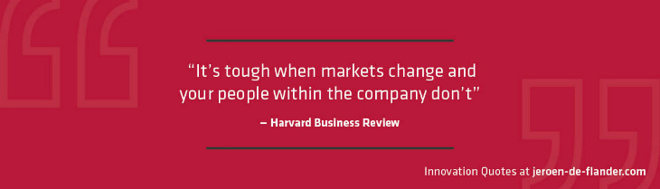 Innovation Quotes - It's tough when markets change and your people within the company don't - Harvard Business Review