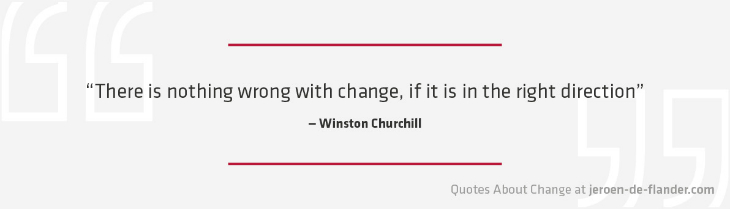 "Quotes about Change - ""There is nothing wrong with change, if it is in the right direction.""―Winston Churchill"