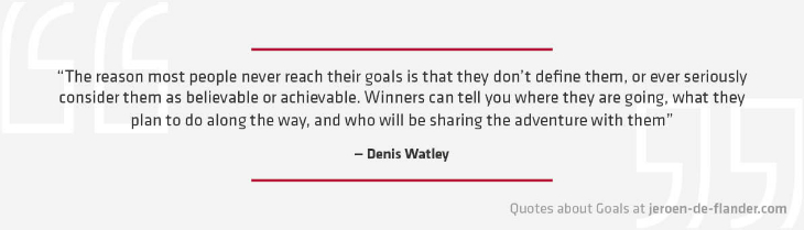 "Quotes about Goals - ""The reason most people never reach their goals is that they don't define them, or ever seriously consider them as believable or achievable. Winners can tell you where they are going, what they plan to do along the way, and who will be sharing the adventure with them"" _Denis Watley"