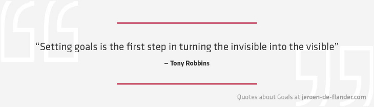 "Quotes about Goals - ""Setting goals is the first step in turning the invisible into the visible."" _Tony Robbins"