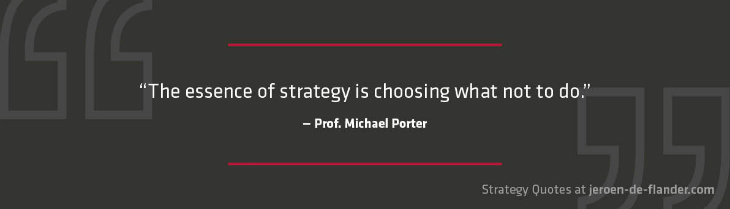 Business strategy principles - Michael Porter advice: about business strategies: what are you not going to do